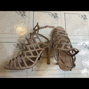 Tan strappy high heels